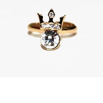 Anel de falange parágrafo dedo mindinho, com pedra de strass e Coroa Acima.