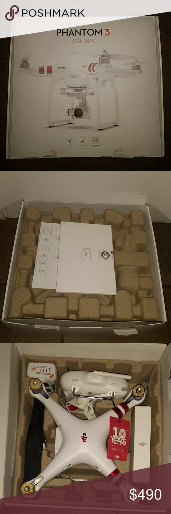 DJI Phantom 3 Standard with 2.7K Camera and 3-Axis DJI Phantom 3 Standard Quadcopter Drone with 2.7K Camera and 3-Axis Gimbal NEW in Factory box  Brand new in box, comes with all standard pieces from manufacturer. Purchased from Target. DJI Phantom 3 Other