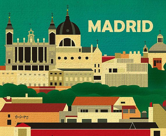 Madrid, Spain Skyline Horizontal print, Travel Destination Wall Art Gift for Home, Office, Nursery - style E8-O-MAD