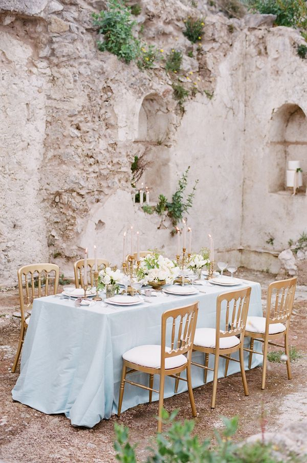 Wedding Theme Inspiration // Timeless Elegance In Italy // Photographer - Gert Huygaerts. The wildly romantic setting, the delicate duck egg blue and antique gold palette and the exquisite details throughout this shoot create a stylish backdrop to this elegant and timeless theme.