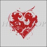 """Схема вышивки """"Кружевное сердце"""""""