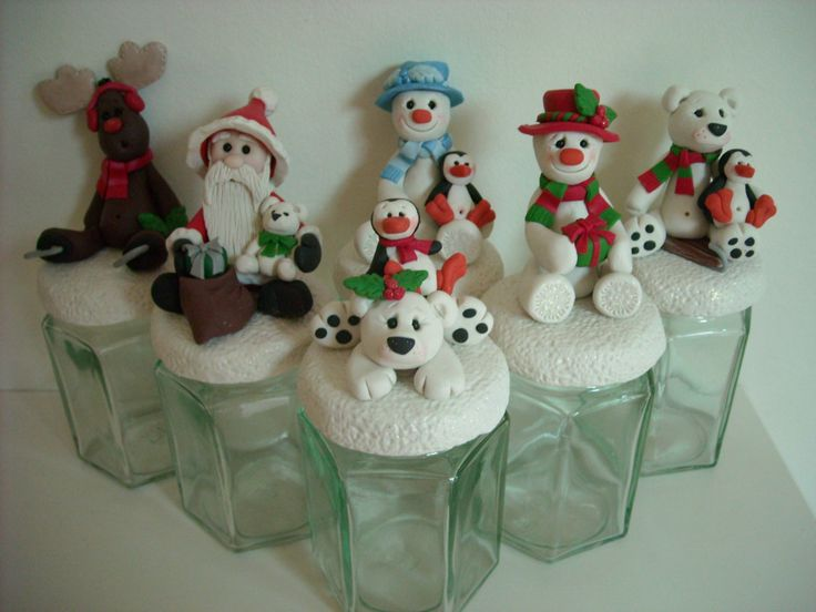 """Fimo topped Christmas """"Sweetie Jars"""""""