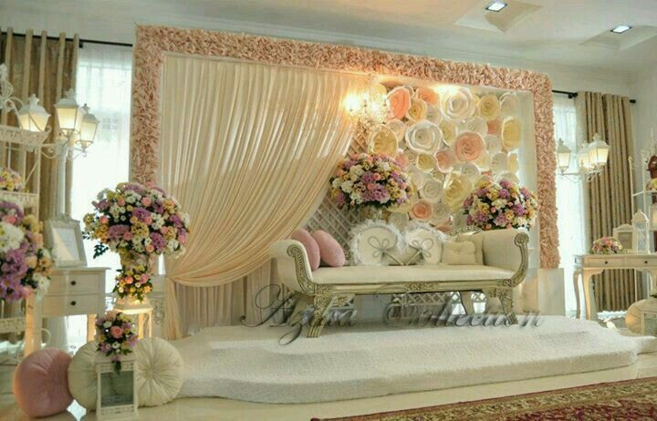Cream and pink stage with paper floral
