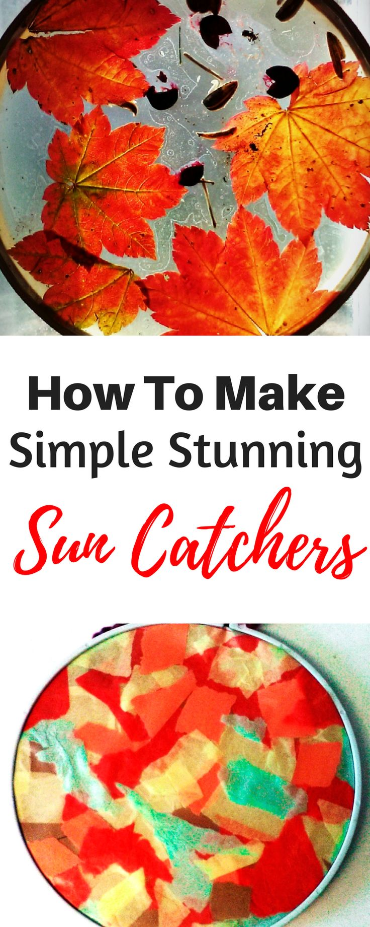 How to make simple beautiful nature and tissue paper sun catchers! This gorgeous fall craft is so easy that it is absolutely perfect for kids to make this autumn for your window! This fun DIY craft is perfect for toddlers, preschool, and school aged children alike. What great ideas for an easy delightful fall craft.