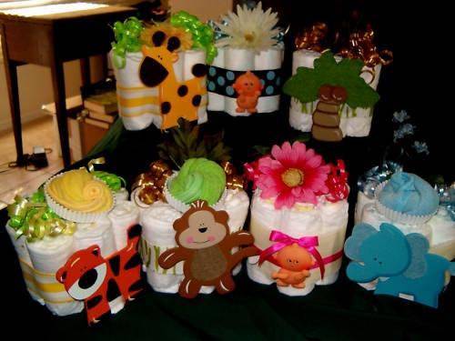 Mini Diaper cakes ~ jungle safari for a baby shower