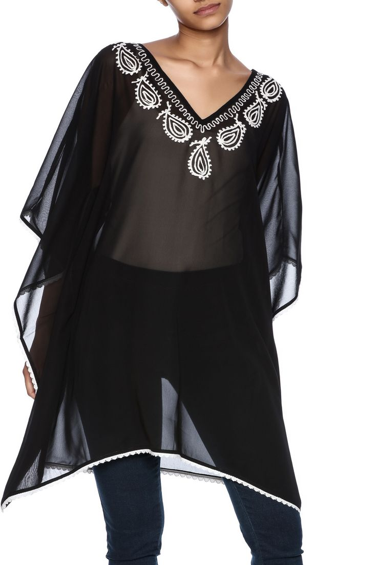 Black cover up with embroidery detail around neckline.   Flawless Embroidery Cover Up by Indian Tropical. Clothing - Swimwear - Cover Ups Florida