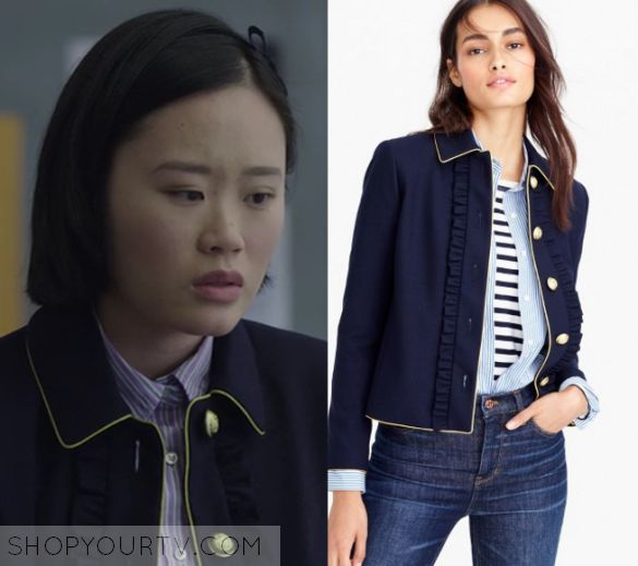 "13 Reasons Why: Season 1 Episode 9 Courtney's Navy Ruffle Military Jacket | Courtney Crimson (Michele Selene Ang) wears this navy blue ruffle front jacket with yellow buttons and piping detail in this episode of 13 Reasons Why, ""Tape 5, Side A"".  It is the J Crew Lady jacket with ruffles."