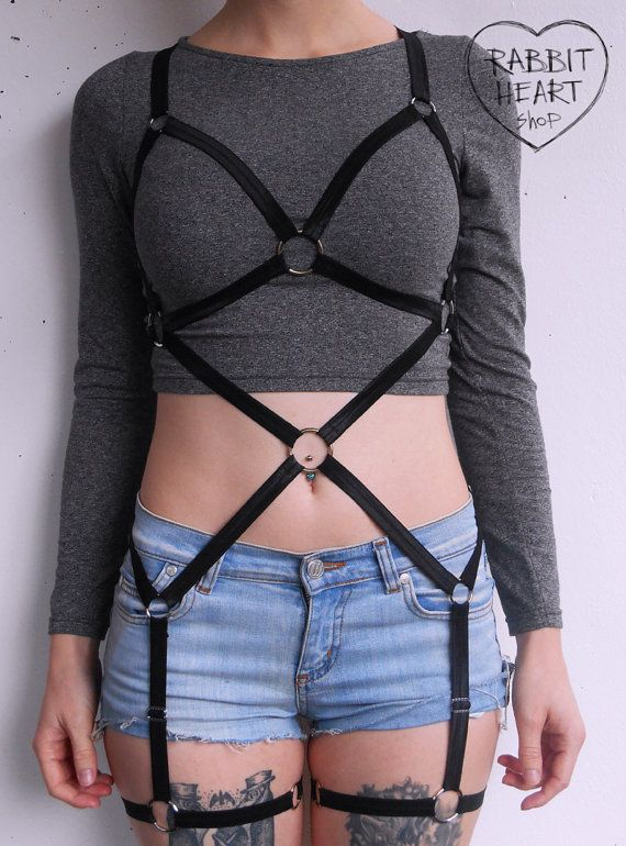 Elastic Body Harness with Garters by RABBITHEARTshop on Etsy
