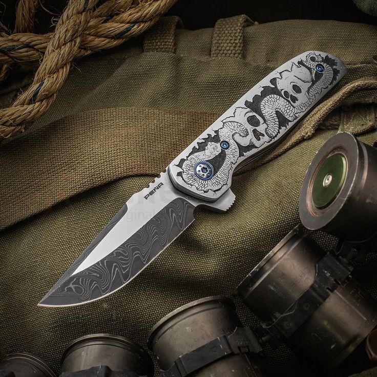 Enrique Pena Custom Engraved Talon Liner Lock Flipper 3.5 inch Two-Tone Nichols Damascus Blade, Snake Skull Engraved Stainless Steel Handles, Timascus Clip