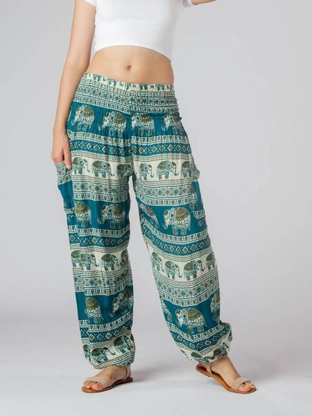 Saza Teal Women's Thai Elephant Harem Pants – The Elephant Pants
