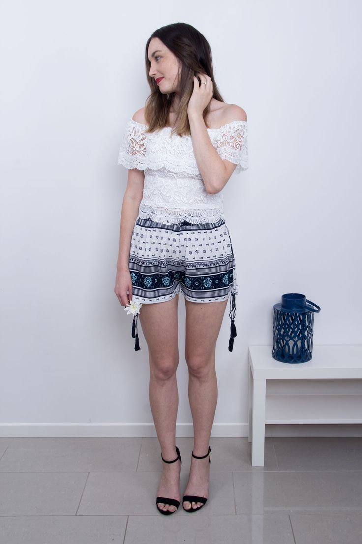 Effortless and Chic | Laura Lace Top and Flora Blue and White Print Shorts | Scandinavian Style in Clothing