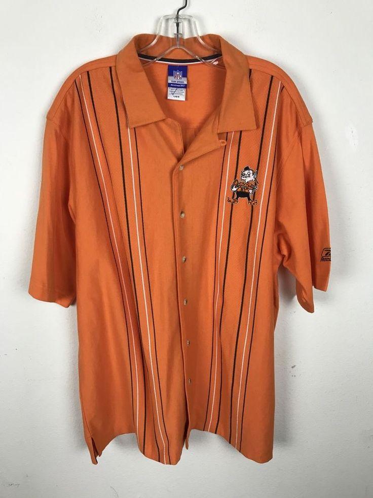 Cleveland Browns Shirt Large NFL Reebok Orange Button Front Short Sleeves Cotton #NFL #ButtonFront