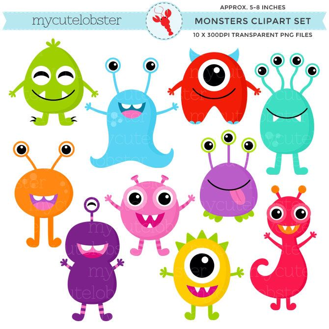 Monsters Clipart Set - clip art set of cute monsters, monsters, characters, party - personal use, small commercial use, instant download by mycutelobsterdesigns on Etsy https://www.etsy.com/listing/210528004/monsters-clipart-set-clip-art-set-of