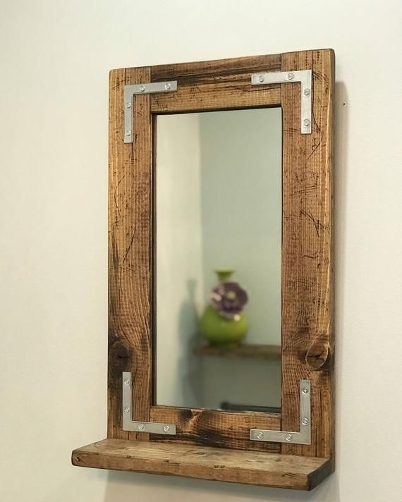Rustic Distressed Mirror With Shelf Small Mirror Bathroom Mirror Framed Mirror Wall Mirror Wood Mi Rustic Mirrors Farmhouse Mirrors Small Bathroom Mirrors
