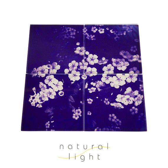 Glass Coaster Set - Floral Garden Purple - Housewarming Gifts - Drinks Coasters - Botanical Decor - Nature Decor - House Warming Gift Ideas