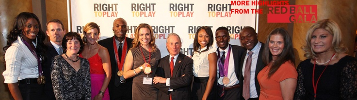 Clients Will Claye and LaShawn Merritt with NYC Mayor Michael Bloomberg at the Right To Play Red Ball Gala