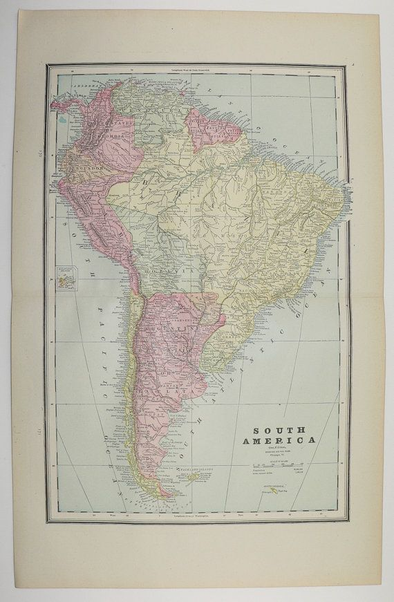 Antique South America Map Vintage Caribbean Map Latin America Europe Old 1888 Christmas Gift Under 25 Gift for Home Office Genealogy by OldMapsandPrints