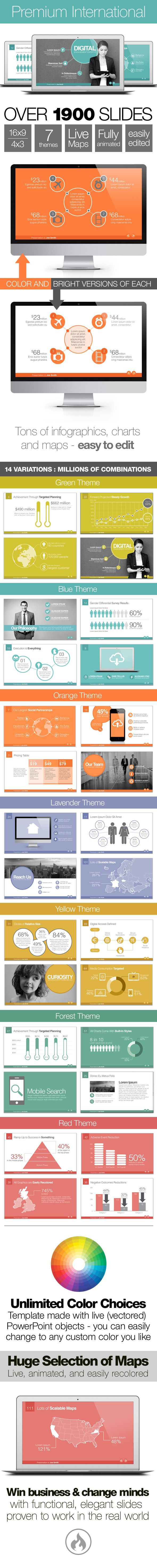 Premium International Template System PowerPoint Template / Theme / Presentation / Slides / Background / Power Point #powerpoint #template #theme