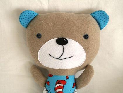 Cuddly teddy bear - cat in the hat fabric