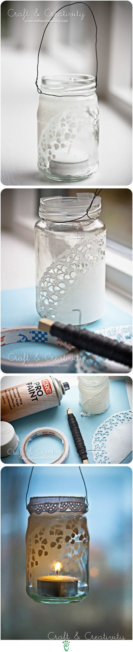Mason Jar + Doilies to create lacy candle holders.  Amy would love these