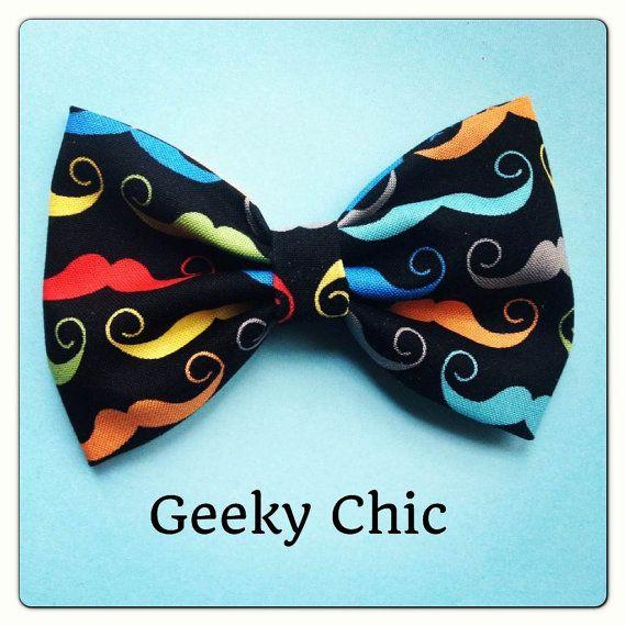 Multi colored Mustache print handmade fabric by Bowliciousdivas, $5.00
