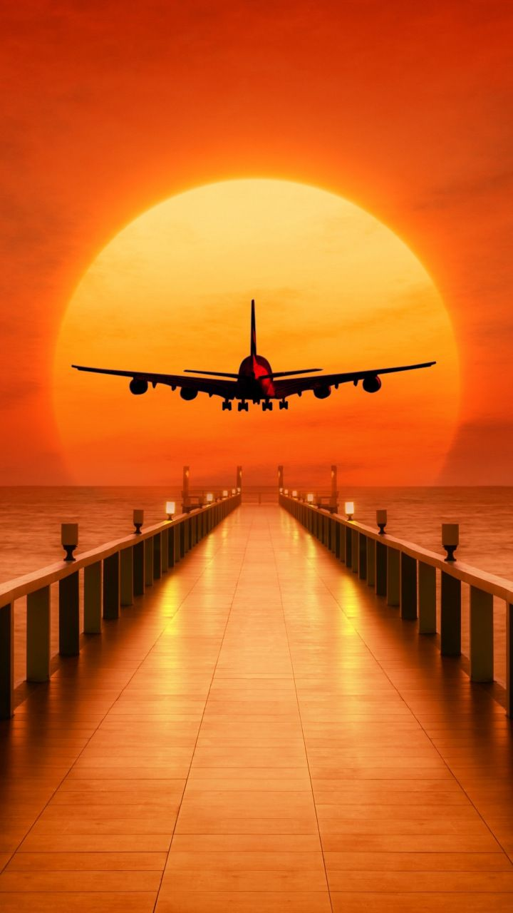 Airplane Photoshop Pier Sunset 720x1280 Wallpaper Airplane Wallpaper Phone Wallpaper Images Sunset Wallpaper