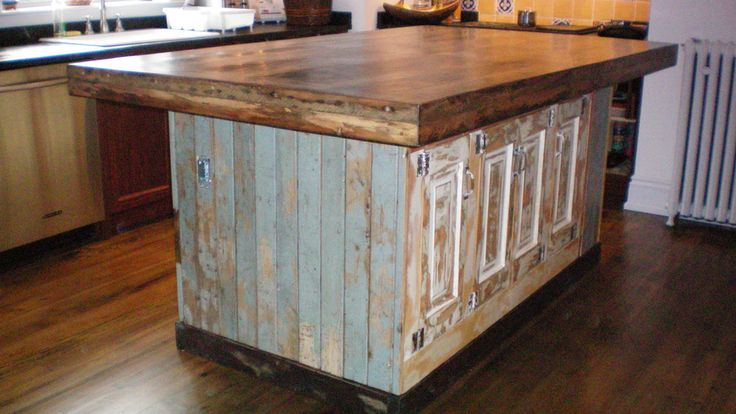 kitchen island made out of old doors | kitchen island made from reclaimed doors metal harvest kitchen island ...