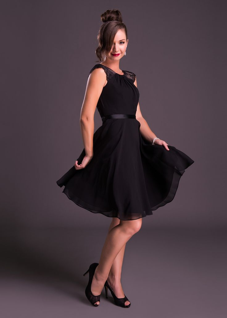 Every girl needs a little black dress! The kind of dress that'll remain in your closet for season after season, this #LBD with lace sleeves and chic satin waist detail is completed by a fun short chiffon skirt (style WBM0023). Click to View All Colours from Bride&co.