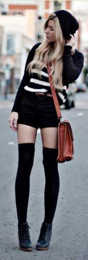 ❀: Black Knee High Socks Outfits, Fashion, Fall Wint, Style, Knee High Socks And Shorts, Clothing, Knee Socks, Thighs High, Knee Highs