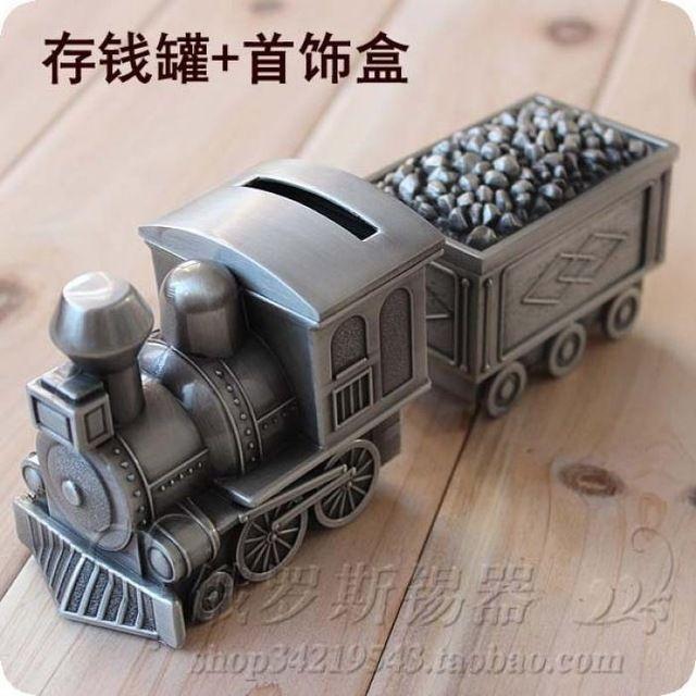 Tin piggy bank silver tin alloy Train cars money box and jewelry box
