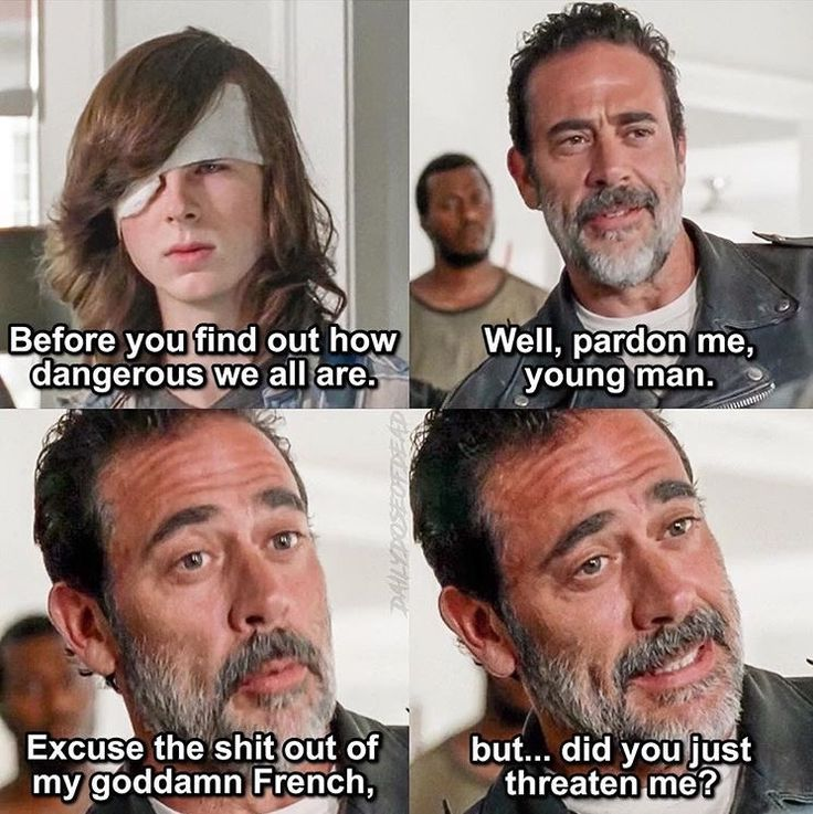 That moment when we're all like if you touch Carl we'll kill you but also shut the hell up Carl!
