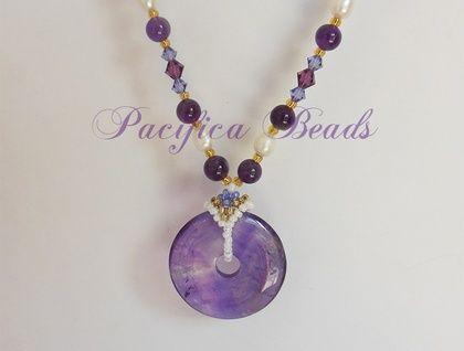Amethyst, Swarovski crystal & freshwater pearl necklace - pendant