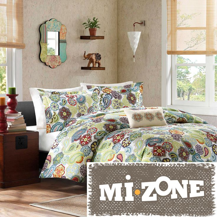 Featuring a floral pattern with medallions mixed in, this four-piece duvet cover set can brighten up any bedroom. This contemporary duvet cover set is made of a soft material for extra comfort, and each piece is machine washable for your convenience.