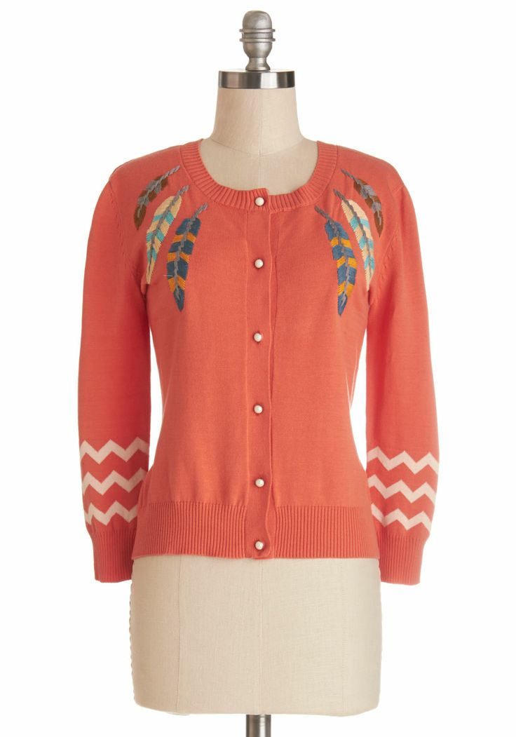 Totally Tickled Cardigan. As though a feathers being waved in front of your nose, you cant help but giggle when wearing this papaya-orange cardigan by Nick  Mo! #orange #modcloth