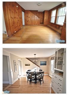 Knotty pine panelling transformed by paint.                              …