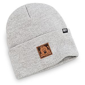 Mickey Mouse Premium Beanie for Adults by Neff | Disney Store Mickey finds it's hip to be square as an embossed faux-suede label on this workwear-inspired fold knit cap from Neff with heathered yarns.