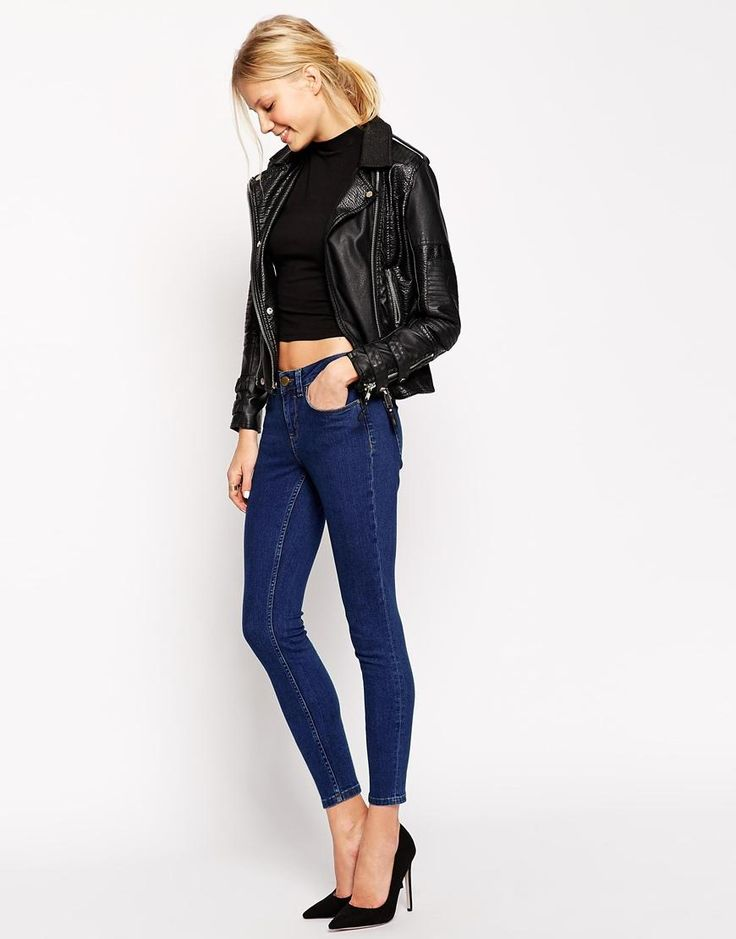 ASOS | ASOS Lisbon Skinny Mid Rise Ankle Grazer Jeans in Darnell Deep Blue at ASOS