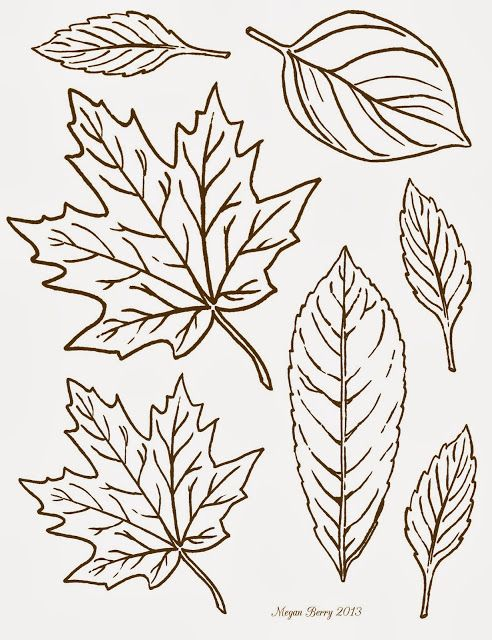 Free printable clip art leaves by Megan Berry.
