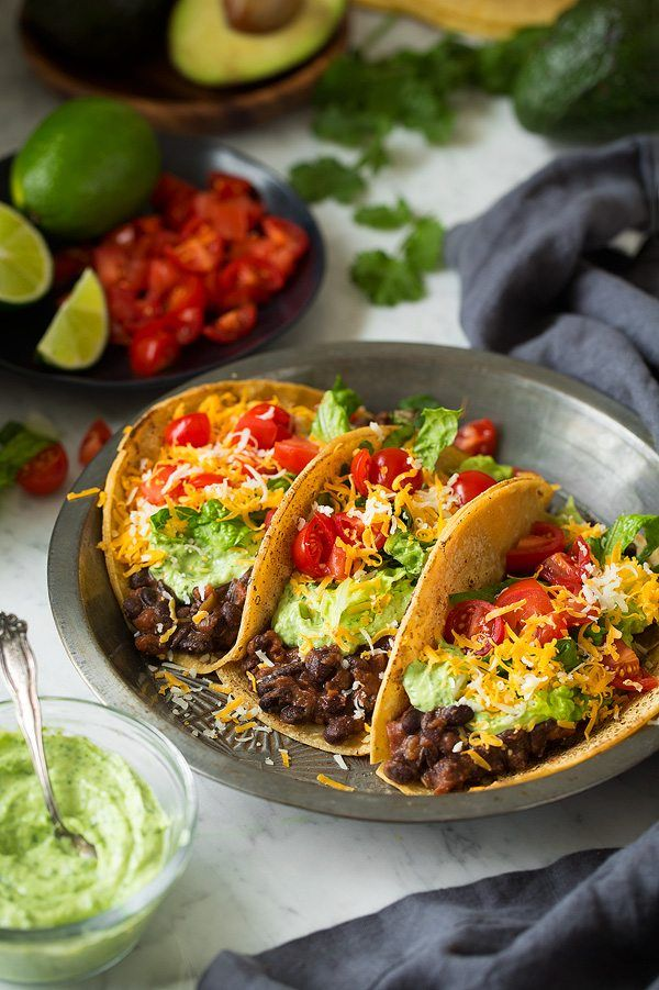 Black Bean Tacos with Avocado Cilantro Lime Crema | Cooking Classy