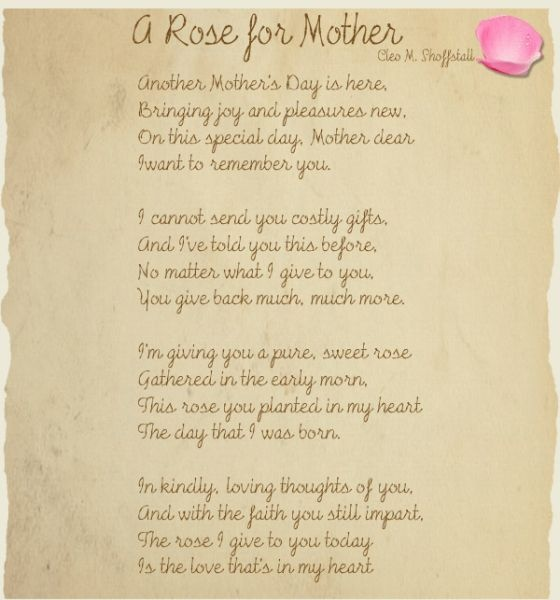 A Poem For My Deceased Mother On Mothers Day  Deceased Mother Poems PoemVidzcom