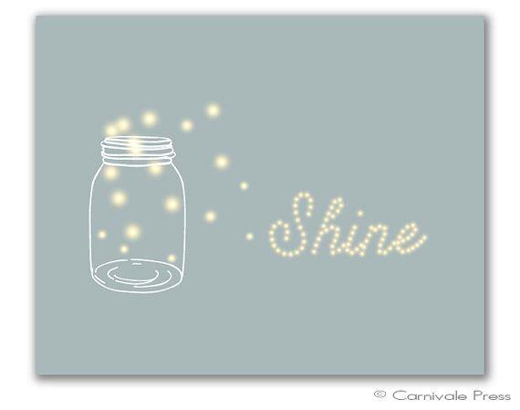 Shine Firefly Art Print Firefly Mason Jar Art Print Summer ...