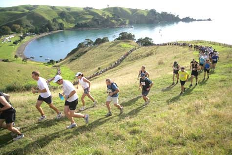 A nice hilly run in the rain this Saturday at The Dual on Motutapu and Rangitoto Islands. That hill looks fun :O