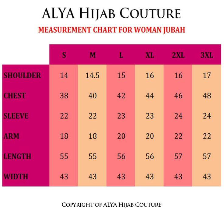 JUBAH MUSLIMAH IRIS - Measurement Chart