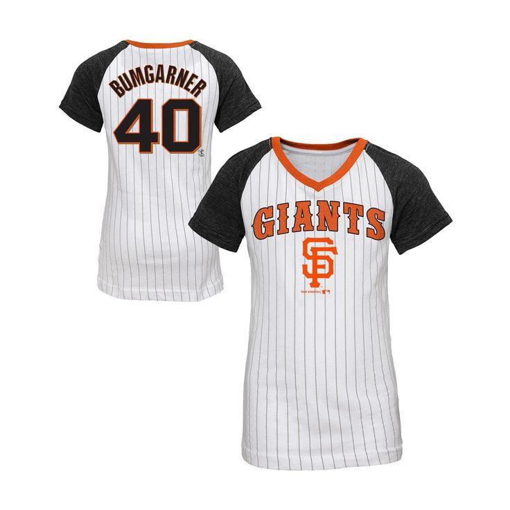 San Francisco Giants Girls' Madison Bumgarner Pinstripe T-Shirt Jersey - White XL, Multicolored