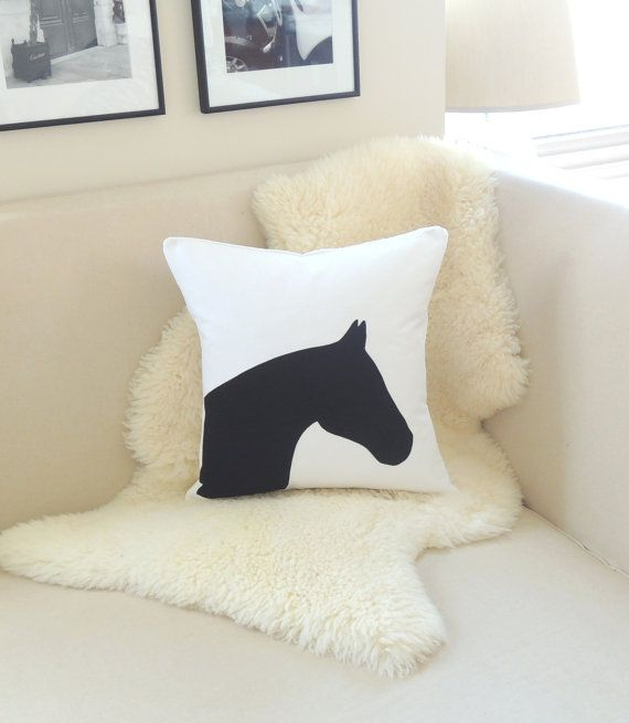 Horse Head Pillow Cover  Equestrian Chic  White & by VixenGoods, $84.00