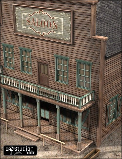 Old West Saloon 3D Building Model