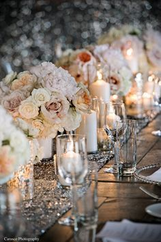 Dusty Rose + Cream Colored #Centerpieces with Sequin Runner {Soirée Weddings & Events}