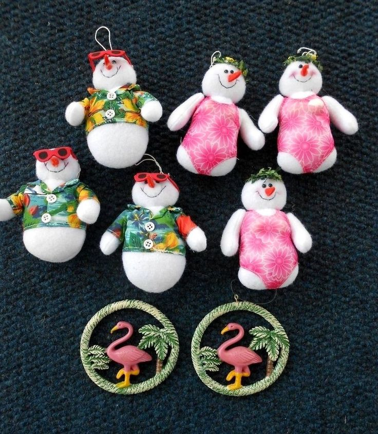 LOT OF 8 TROPICAL CHRISTMAS ORNAMENTS 6 PLUSH HAWAIIAN SNOWMEN & 2 FLAMINGOS #Unbranded
