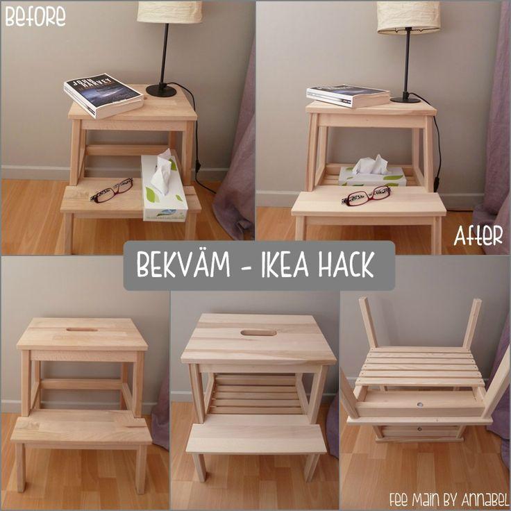 Bekväm de chez IkeaTasseau de chez Leroy MerlinQuelques clous = Une table de nuit bien pratique !!
