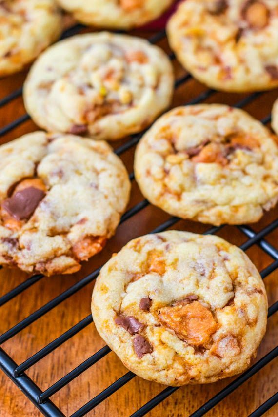 Chewy Butterfinger Cookies. Only a few easy ingredients needed to make these best-ever cookies!